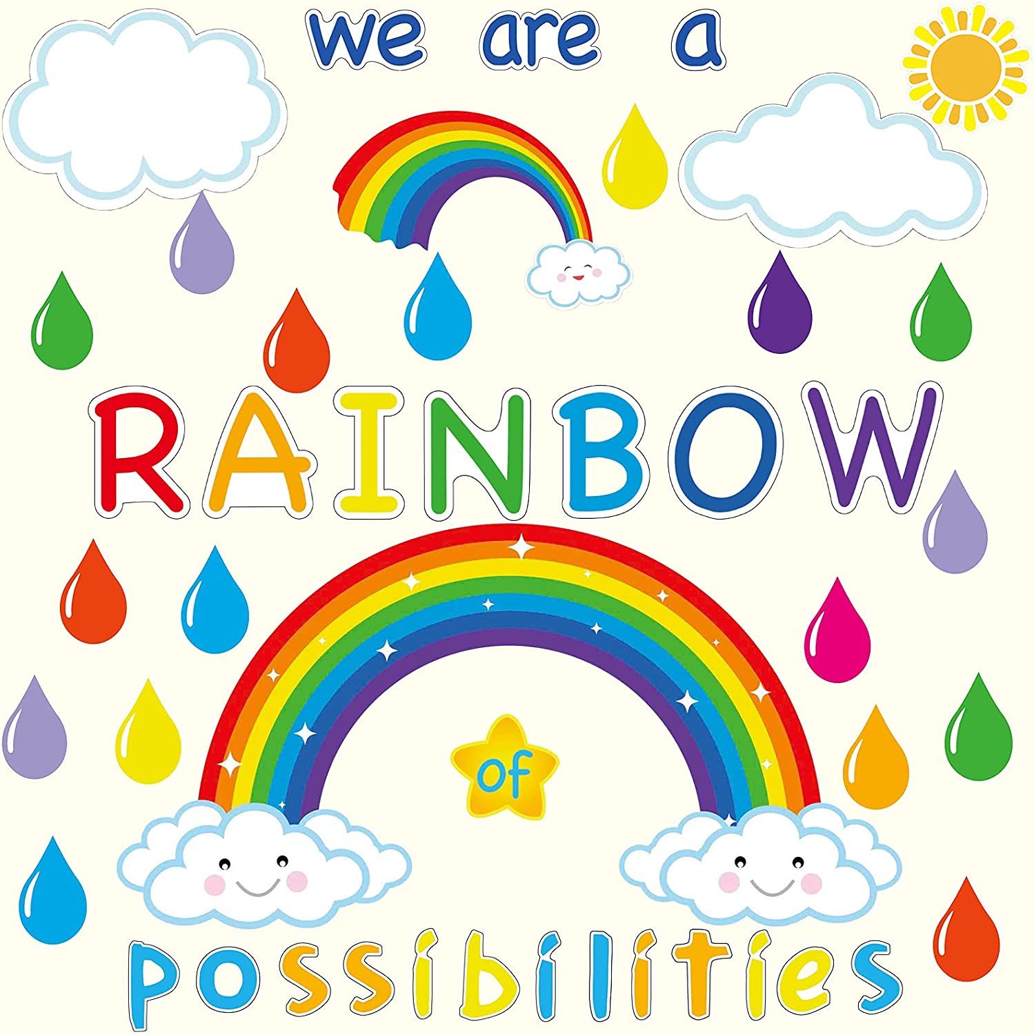 59PCS Motivational Rainbow Bulletin Board Cutouts, Hello Sunshine Inspirational Classroom Decoration We are a Rainbow of Possibilities Accents for School Chalkboards Wall Decor