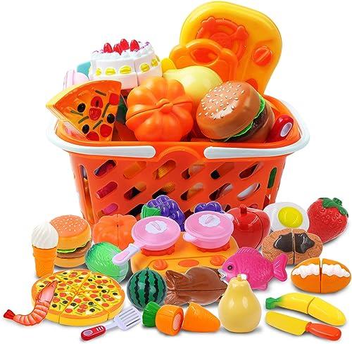 DigHealth 34 Piezas Alimentos de Juguete, Corte de Frutas y Alimentos Falsos, Cortar Frutas Verduras, Temprano Desarr...