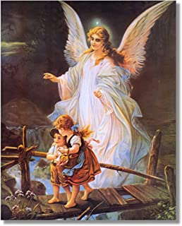 Guardian Angel with Children On Bridge Religious Wall Art Print 16x20