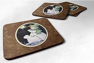 "Caroline's Treasures Snowman with Westie Foam Coasters Set of 4 (Set of 4), 3.5"" H x 3.5"" W, Multicolor"