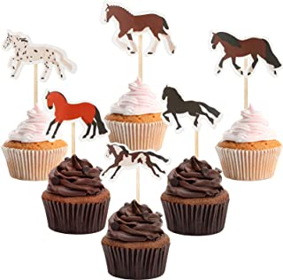 Zonon 48 Pieces Horse Cupcake Toppers Horse Racing Cake Toppers Horse Cake Decoration Horse Party Decorations for Horse Ra...