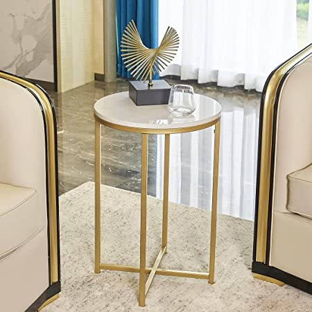 """Round Side End Table with Marble Top&Gold Frame, Modern Bedside Small Coffee Table for Small Space Bedroom Living Room, 15.75"""" D x 24.5"""" H"""
