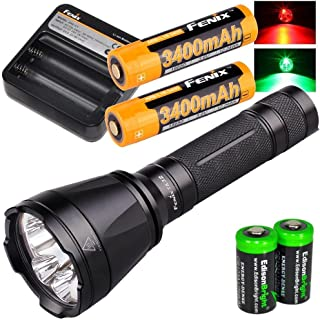 Fenix TK32 2016 1000 Lumen CREE LED built in Red, Green Lights tactical/hunting Flashlight with 2 X Fenix 18650 3400mAH Li-ion rechargeable batteries, Fenix ARE-C1 Home/car Charger and 2 X EdisonBright CR123A Lithium batteries package