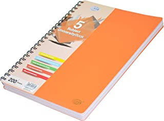 FIS 5 Subject University Books, 200 Sheets, A4 Size, Micro Perforated Pages, Orange Colour - FSUB5SPPSA