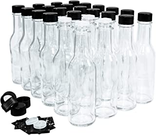 (24 Pack) 5 oz. Clear Glass Hot Sauce Bottle (woozy) with Black Cap + Shrink band and Orifice Reducer