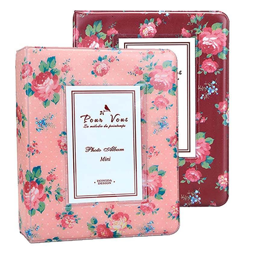 Instax Album Set, WarmHut Bundles Set of 2 Vintage Flower Floral Mini Photo Album, for Fuji Fujifilm Instax Mini 8 7s 25 50s 90 Polaroid, 3-inch Business Credit Name Card Holder with 64Pockets Slots