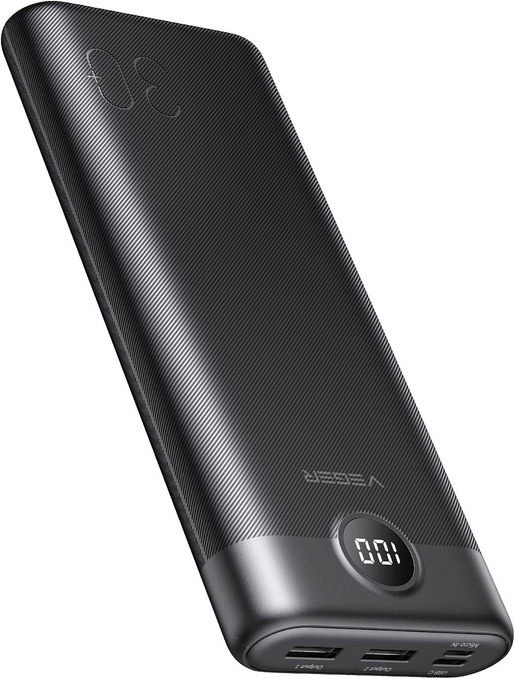 VEGER 30000mAh Bateria Externa Powerbank con Pantalla LED Cargador portátil con Paquete de batería USB C con 2 entradas y 3 Salidas Compatible con iPhone, Samsung, Huawei, Tableta y más.