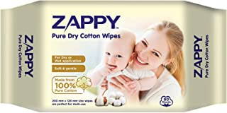 Zappy Pure Dry Cotton Wipes, 80 count