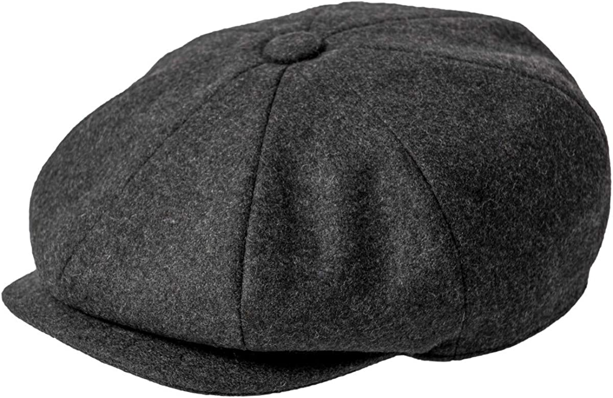JANGOUL Men Wool Blend 8 Panel Newsboy Cap Tweed Cabbie Hat Snap Brim