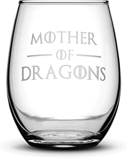 Integrity Bottles Premium Game of Thrones Wine Glass, Mother of Dragons, Hand Etched 14.2 oz Stemless Gifts, Made in USA, Sand Carved