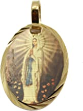 Virgen De Lourdes Medalla - Our Lady of Lourdes Medal 14k Gold Plated Medal with 18 Inch Chain