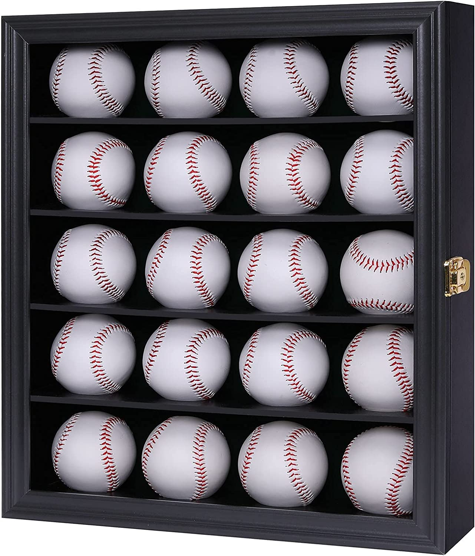 Verani 20 Baseball Max 77% OFF security Display Case Rack Wood Lockable Cabinet Holde