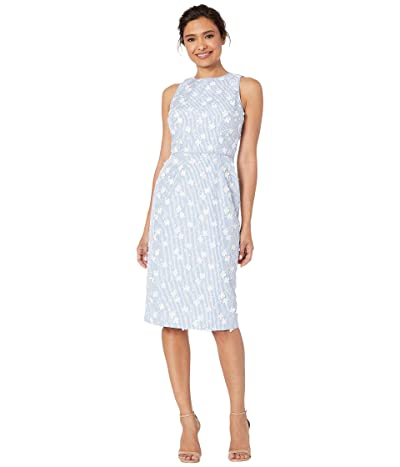 Maggy London 3D Petal Stripe Novelty Sheath (Blue/White) Women