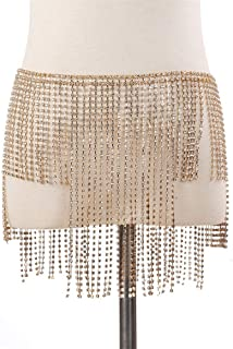 Crystal Alloy Bikini Body Belly Harness Body Chain for Dance Party Women (Color : Gold, Size : Free Size)