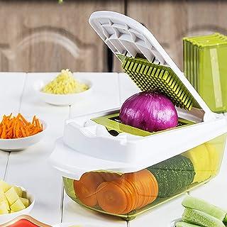 Multifonction Trancheur de Mandoline Cuisine Hachoir à Oignon Food Cutter Spiraliseur de Légumes,Tomate Patate Salade Ging...