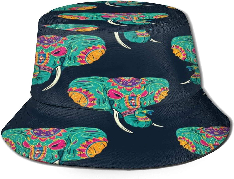 Sugar Skull Elephant Bucket Hat Unisex Sun Hat Summer Packable Fisherman Hats Black