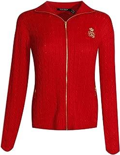 Ralph Lauren Womens Full Zip Cable Knit Crest Sweater (XX-Large, Lauren Red)