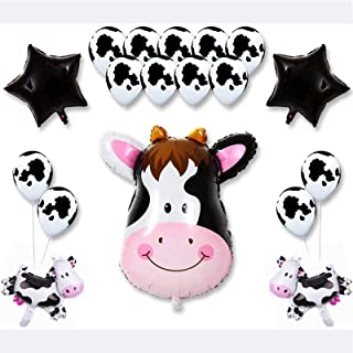 18 Pack Barn Farm Animals Birthday Party Baby Shower Decorations Supplies (13 Cow Print Latex Balloons)
