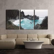 wall26 - 3 Piece Canvas Wall Art - Sea Bay with Rocks,Waves - Modern Home Decor Stretched and Framed Ready to Hang - 16