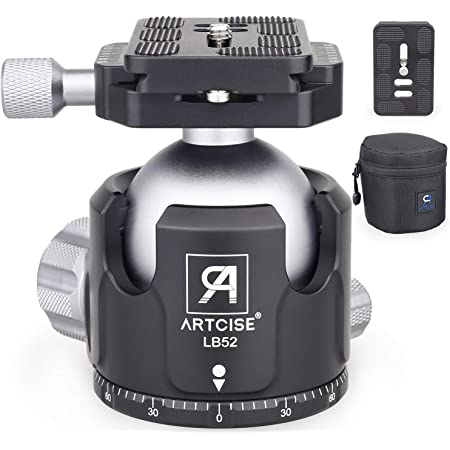 """Low Profile Ball Head 52MM Ball Diameter All Metal Tripod Ball Head Panoramic CNC Ball Heads Camera Mount with Two 1/4"""" Quick Release Plates for Tripod, DSLR, Camcorder, Max Load 66lbs/30kg"""