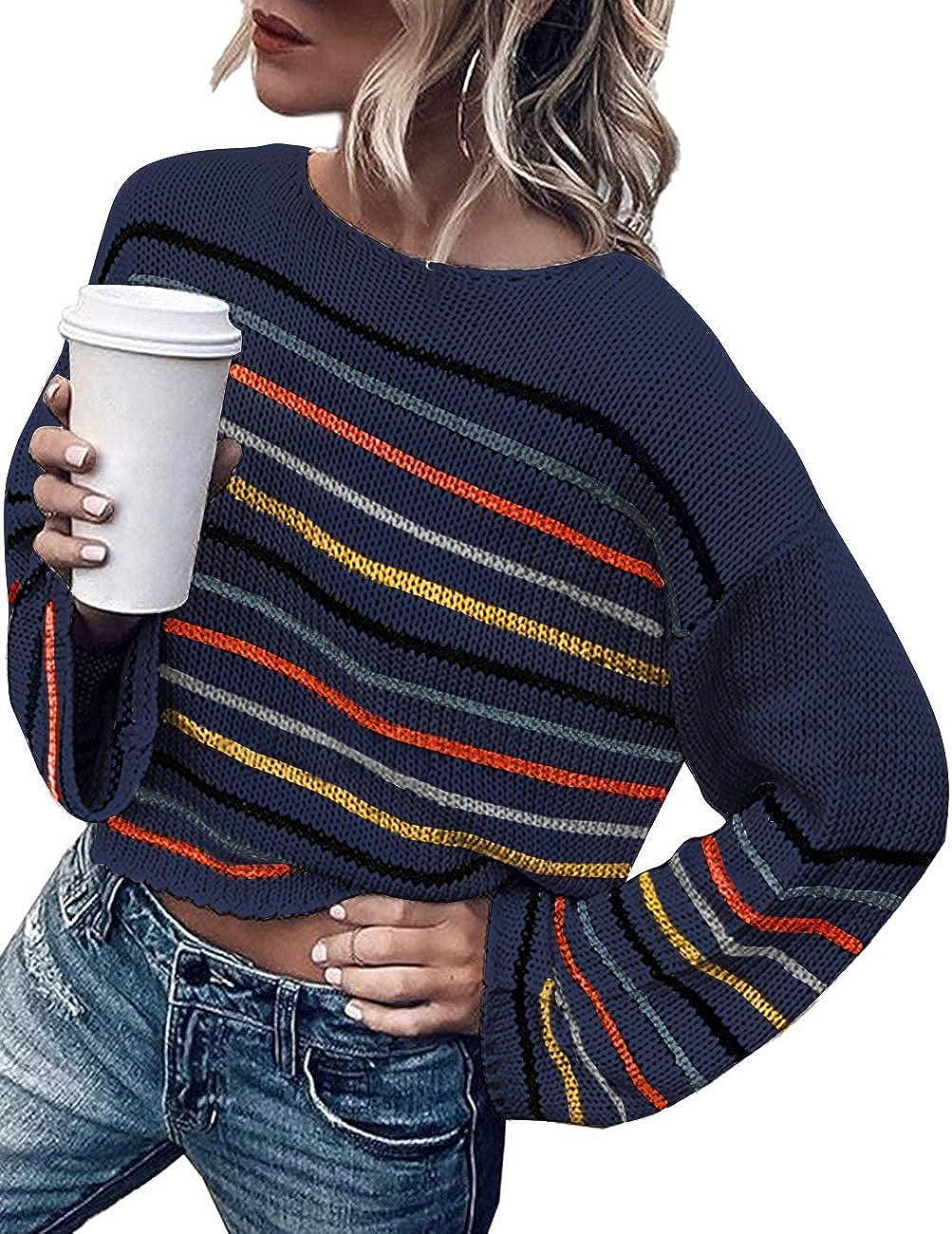 ZESICA Women's Long Bell Sleeve Rainbow Striped Loose Oversized Pullover Sweater Crop Shirt Tops