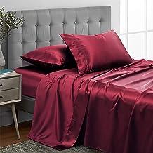Vonty Satin Sheets Silky Satin Sheet Set, Deep Pocket Fitted Sheet + Flat Sheet + Pillowcase Bedding Set, Satin, Burgundy,...
