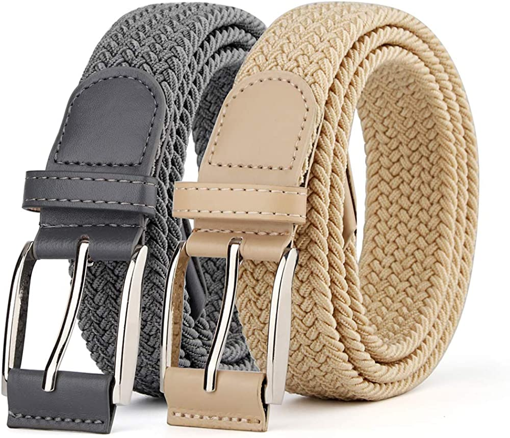 2 Pieces Braided Woven Elastic Stretch Canvas Belts for Men Women