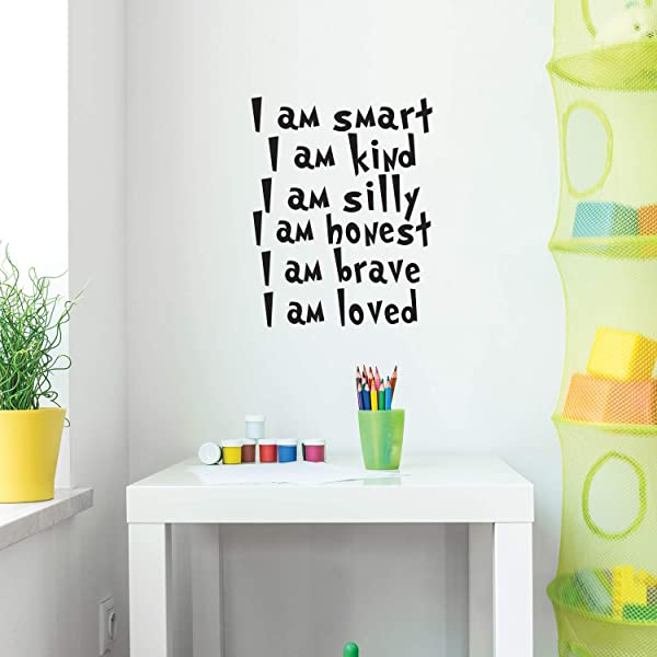 Vinyl Wall Art Decal I Am Smart I Am Kind I Am Silly I Am Honest 22 X 17 Positive Words Of Affirmations For Home Bedroom Living Room Classroom School Office Decoration Sticker Black