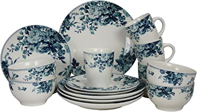 Amazon Com Elama Round Stoneware Colored Pattern Dinnerware Dish Set 16 Piece White With Blue Rose Accents Dinnerware Sets