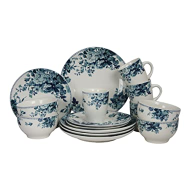 Elama Round Stoneware Colored Pattern Dinnerware Dish Set, 16 Piece, White with Blue Rose Accents