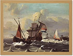 Doppelganger33 LTD Painting Maritime Bakhuizen Three Masted Dutch Ship Art Large Framed Art Print Poster Wall Decor 18x24 inch Supplied Ready to Hang