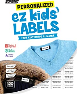 120 Custom Personalized Self Stick Ez Kids' and All Purpose Clothing Name Labels, No-Iron, Washer, Dryer & Dishwasher Safe