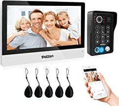 TMEZON WLAN Video Door Intercom System, 10 Inch 1080P WLAN Touchscreen Monitor with Wired Camera Outdoor, 5-in-1 APP/Passw...