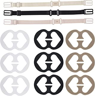 WISTOM Bra Strap Clips Thsinde 12 Bra Clips and Bra Straps Holder Women's Black White Beige for Full Cup Size