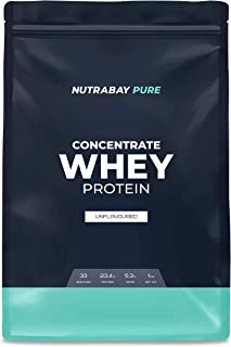 Nutrabay Whey Protein Concentrate (Unflavoured) - 1 kg | Raw Whey from USA | 33 servings