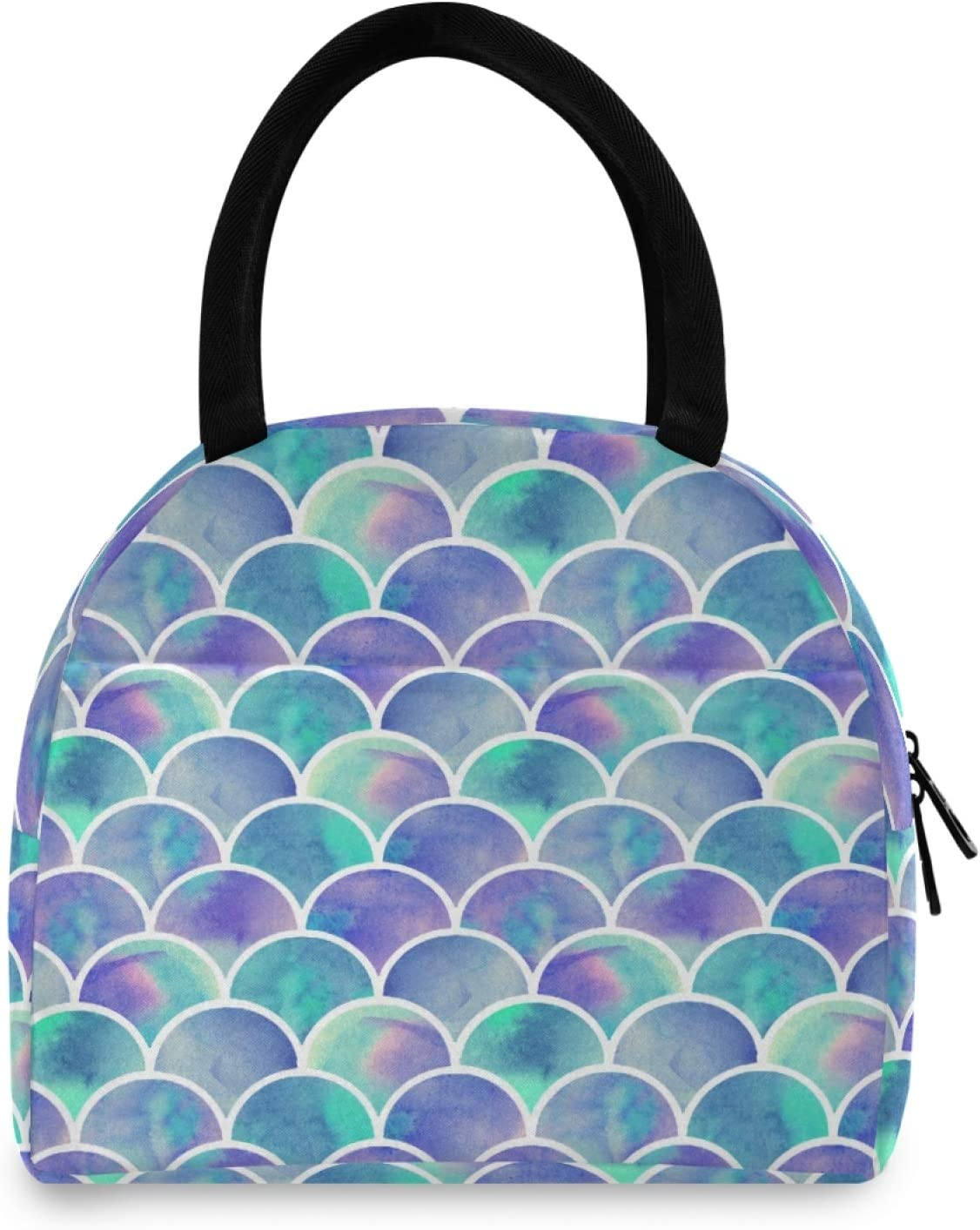 Bardic Lunch Bags Mermaid Rainbow Scales Lunch Box Insulated Tote Bag Cooler Bag Lunch Bag for Woman Men