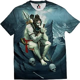 Lord Shiva Smoking Weed from Chillum Full Coverage All Over Printed Adiyogi Isha Blue Color Unisex T-Shirt
