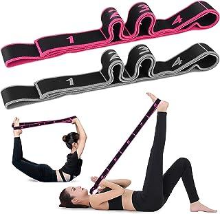 hicoosee Sangle de Yoga, Sangle d'étirement pour Yoga Ceinture Elastique Ajustable pour Pilates Entraînement Gymnastique A...