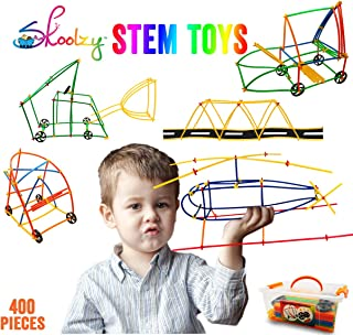 Skoolzy Stem Toys for Boys & Girls - Straws and Connectors with Wheels Fine Motor Skills Engineering Toys Building Blocks - Kids Educational Toys for 3, 4, 5, 6 Year Olds - 400pc Creative Tinker Games