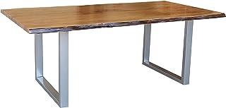 MASSIVMOEBEL24.DE Table à Manger 160x100cm – Fer et Bois Massif d'acacia laqué (Noisette) - Freeform 2#01