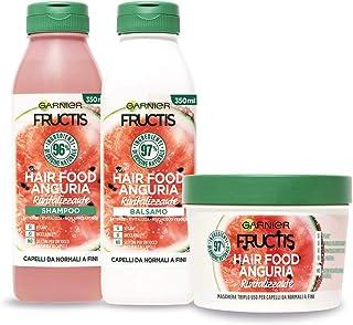 Garnier Fructis Hair Food Anguria Rivitalizzante, Kit con Shampoo, Balsamo e Maschera per Capelli Fini, 97% di Ingredienti...