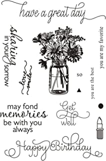 Have a Great Day Vase Flowers Lipstick Sentiments Phrase Rubber Clear Stamp/Seal Scrapbook/Photo Decorative Card Making Clear Stamp (Have A Great Day)