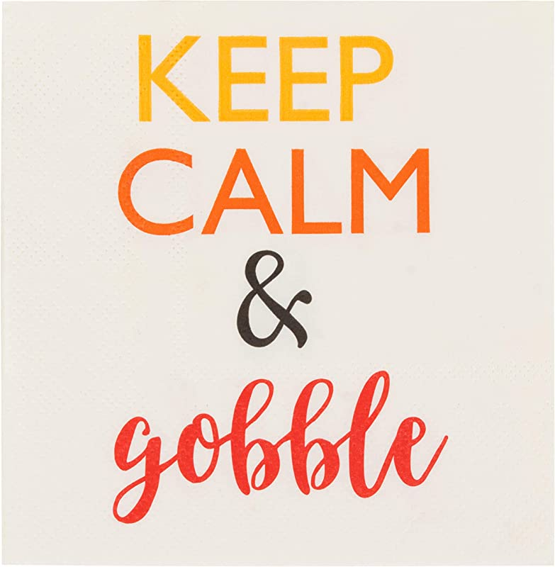 Cocktail Napkins 100 Pack Disposable Paper Napkins Autumn Thanksgiving Dinner Party Supplies 3 Ply Keep Calm And Gobble White Unfolded 10 X 10 Inches Folded 5 X 5 Inches