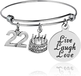 YeeQin Happy Birthday Bangles, Cake Cheer Live Laugh Love Charms Bangle Bracelets, Gifts for Her