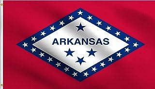 DMSE Arkansas State Little Rock Flag 3X5 Ft Foot 100% Polyester 100D Flag UV Resistant (3' X 5' Ft Foot)