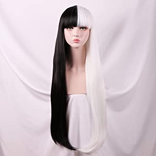 Yilys Women's Long Straight Half white Half Black Wig With Bangs Halloween Cosplay Party Hair(about 32Inch)