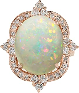 11.6 Carat Natural Multicolor Opal and Diamond (F-G Color, VS1-VS2 Clarity) 14K Rose Gold Luxury Cocktail Ring for Women Exclusively Handcrafted in USA