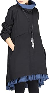 Mordenmiss Women's Flared Layers Dress Hi-Low Ruffle Hem Tunic Top