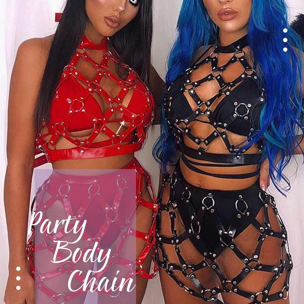 Asooll Punk Leather Body Harness Black Garter Belts Waist Leg Chains Fashion Thigh Chain Nightclub Party Belly Belts Body Accessories for Women and Girls