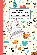 Preschool Composition Notebook: Cute Bear, Heart, Duck Pattern, My First Draw and Write Journal Dotted Ruled Notebook, Lin...